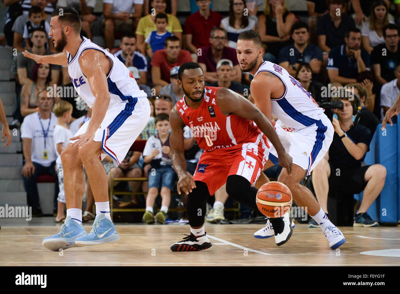 Evan FOURNIER/Jacob PULLEN - 21.08.2015 - France/Georgie - Match amical.Photo : Nolwenn Le Gouic/Icon Sport - Stock Image