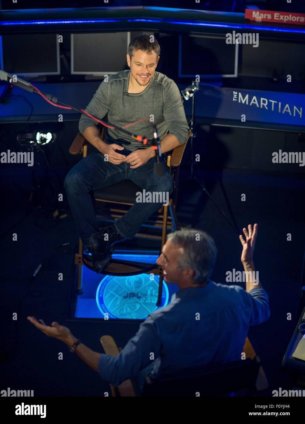 Actor Matt Damon during a visit to the Jet Propulsion Laboratory August 18, 2015 in Pasadena, California. Damon - Stock Image