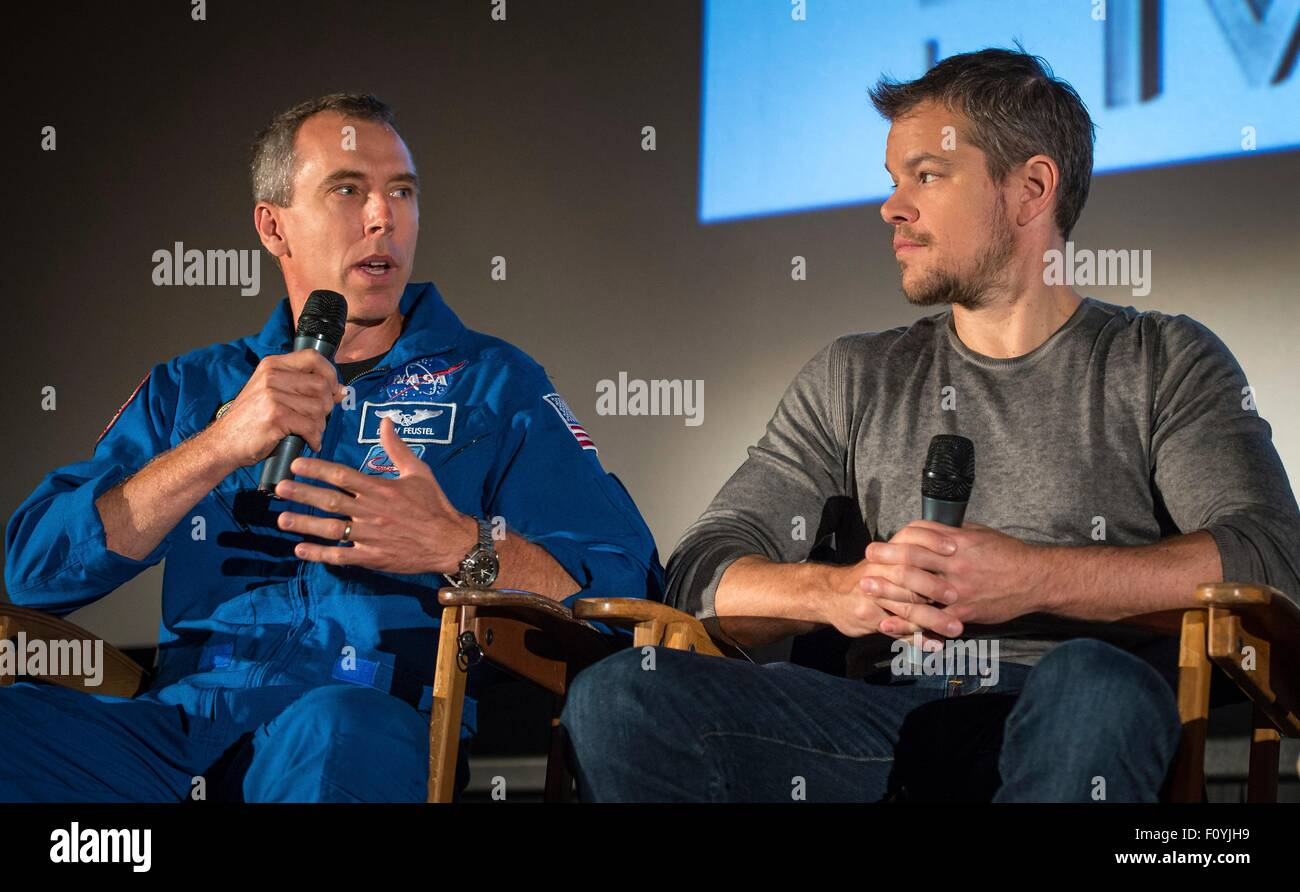 NASA Astronaut Drew Feustel and Actor Matt Damon participate in a question and answer session August 18, 2015 in - Stock Image