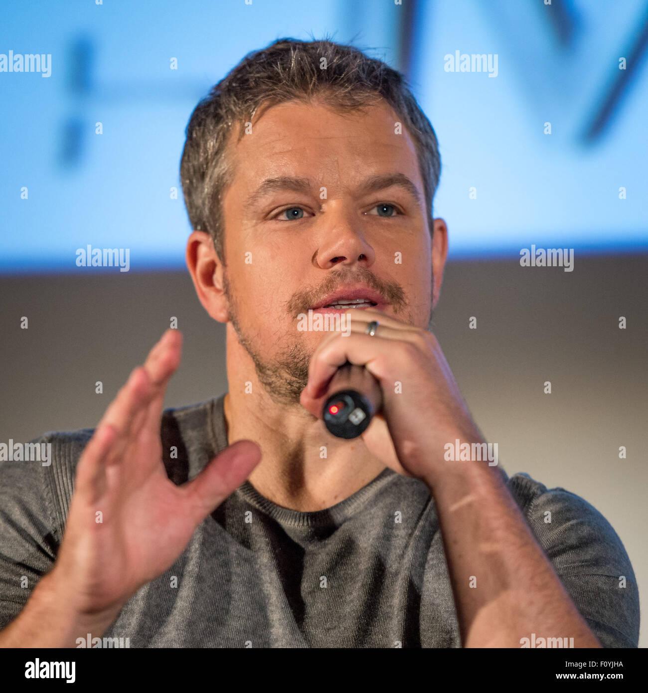 Actor Matt Damon participate in a question and answer session August 18, 2015 in La Ca–ada Flintridge, California. - Stock Image
