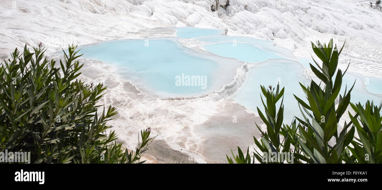 Pamukkale, or cotton castle in Turkish, is in Denizli Province, southwestern Turkey - Stock Image