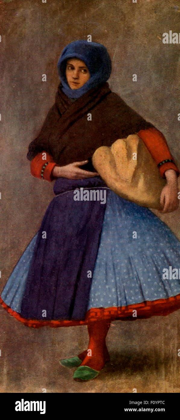 Women's work day in Kalocsa, Austria-Hungary, circa 1910 - Stock Image