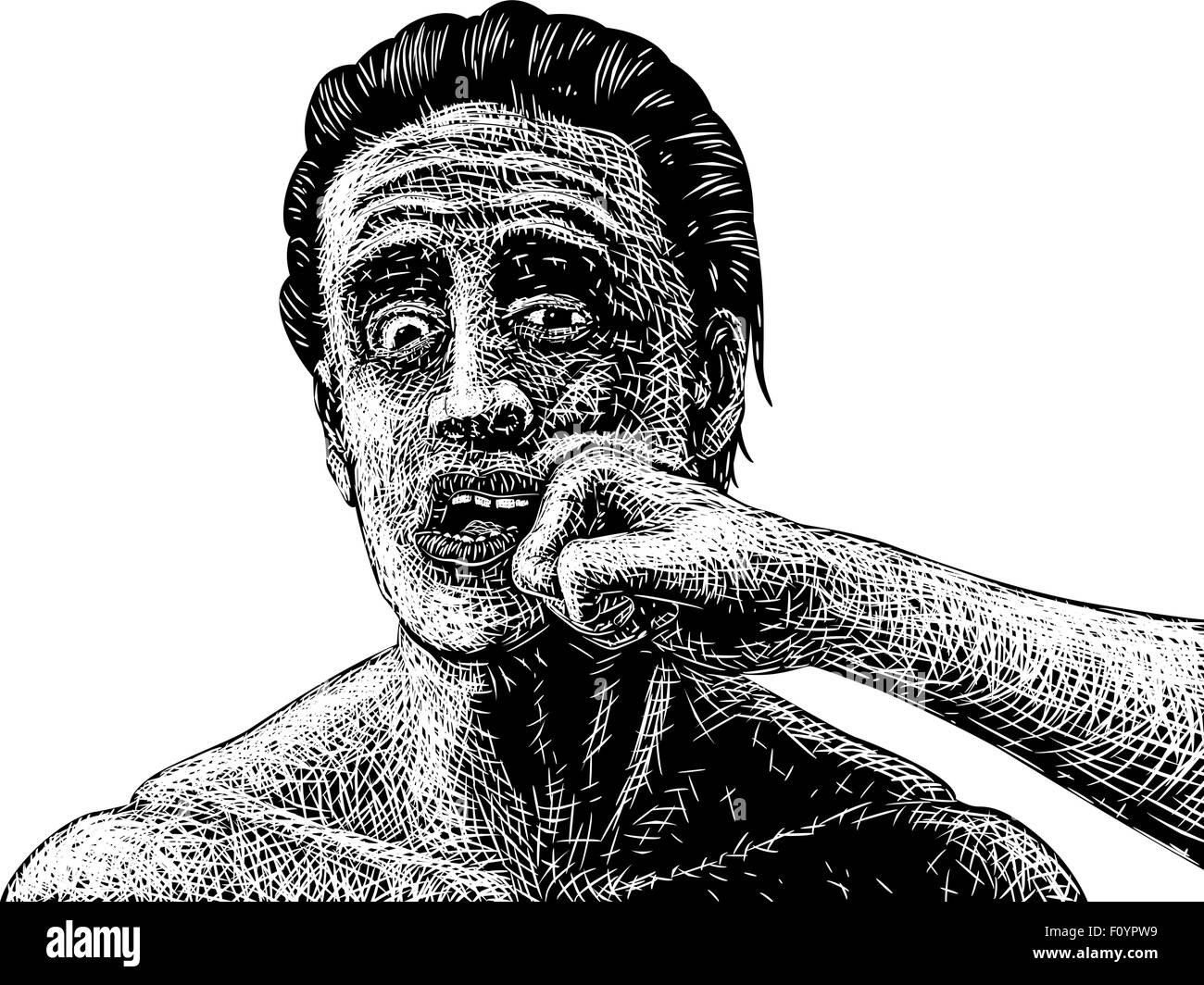 EPS8 editable vector sketch of a man being punched in the face - Stock Vector