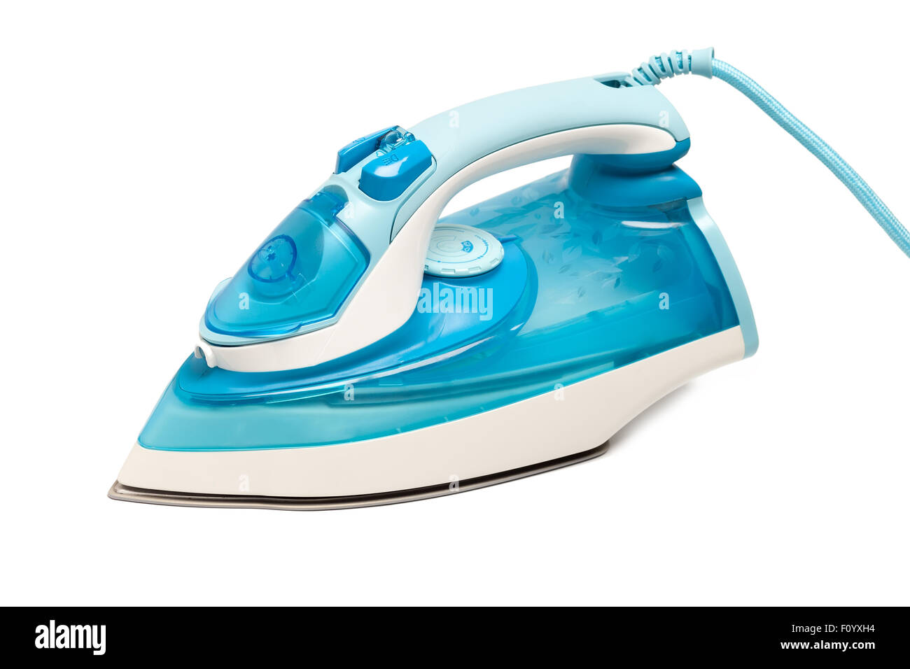 iron housework ironed electric tool clean white background ironing steam housekeeping - Stock Image