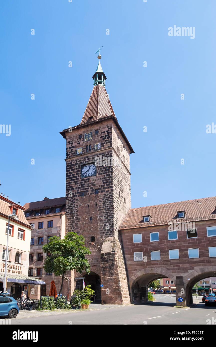 Laufer Schlagturm tower, historic centre of Sebald, Nuremberg, Middle Franconia, Franconia, Bavaria, Germany - Stock Image