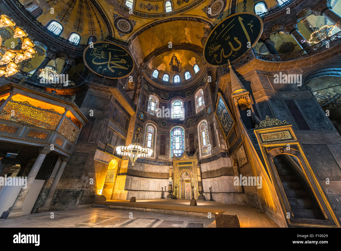 Main area of the Hagia Sophia, Ayasofya, interior, UNESCO World Heritage Site, European Side, Istanbul, Turkey - Stock Image