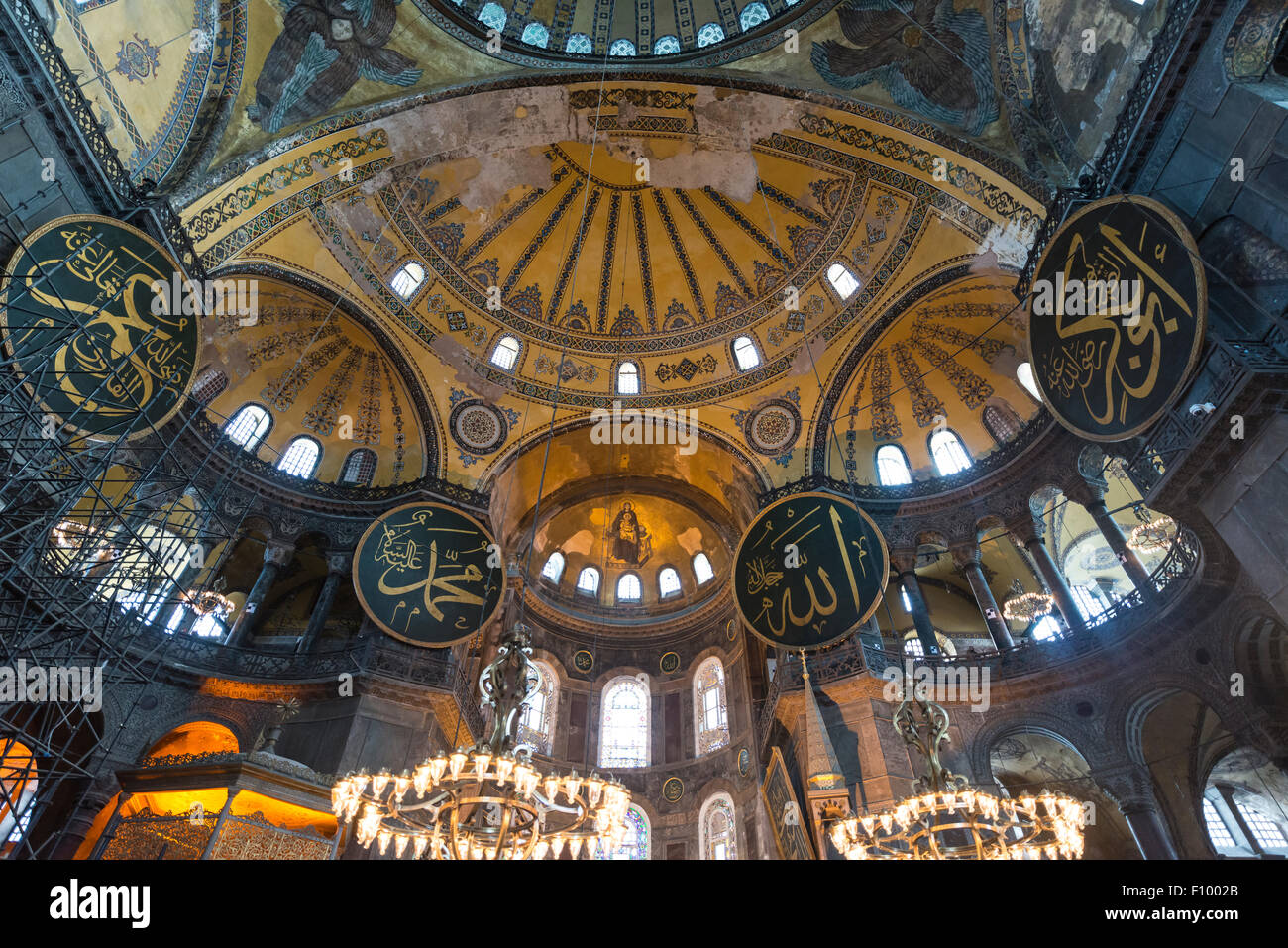 Main area of the Hagia Sophia, dome, Ayasofya, interior, UNESCO World Heritage Site, European Side, Istanbul, Turkey - Stock Image