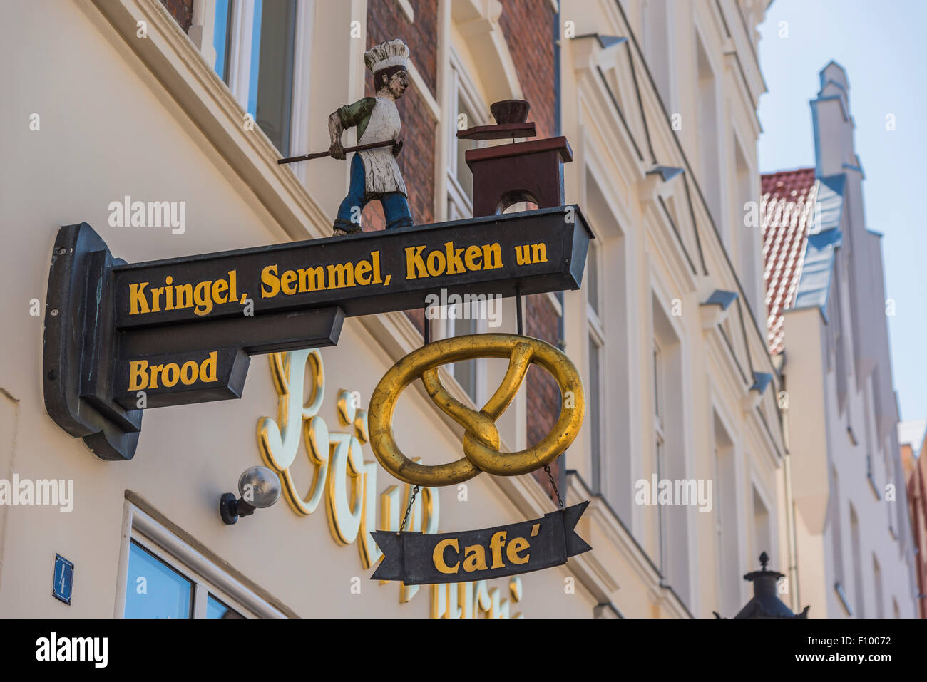 Signboard at a bakery, Wismar, Mecklenburg-Western Pomerania, Germany Stock Photo