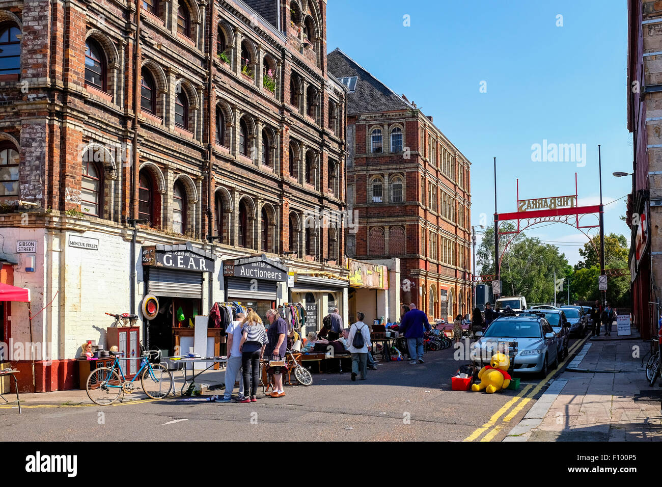 East entrance to the famous street market called The Barras, Glasgow, Scotland, UK - Stock Image
