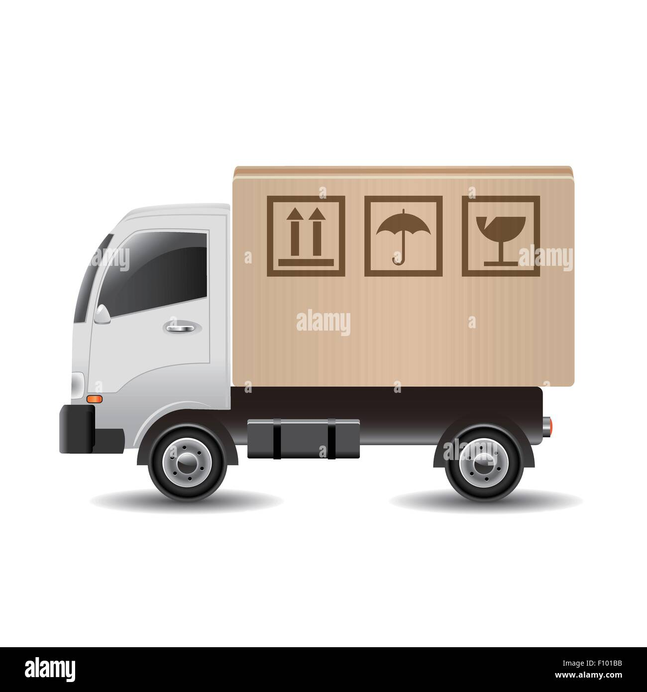 Delivery truck with a cardboard box - Stock Image