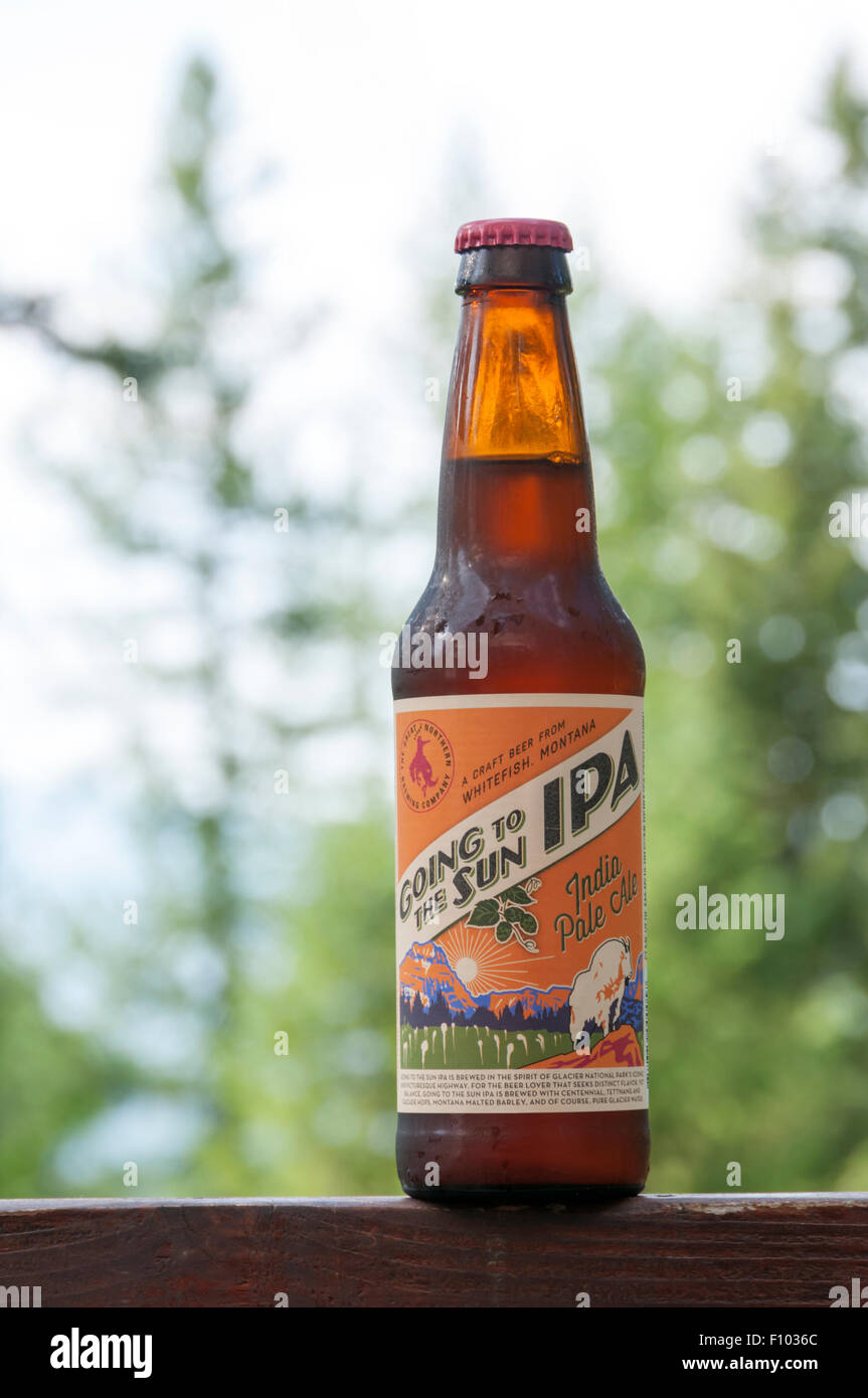 A bottle of Going To The Sun IPA by the Great Northern Brewing Company of Whitefish, Montana, USA. - Stock Image