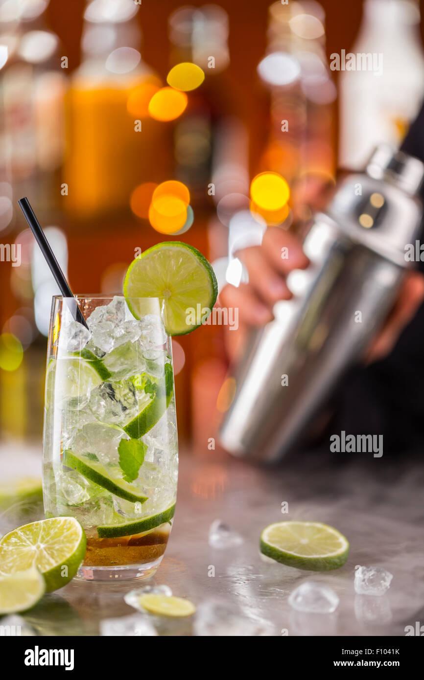 Mojito drink on bar counter - Stock Image