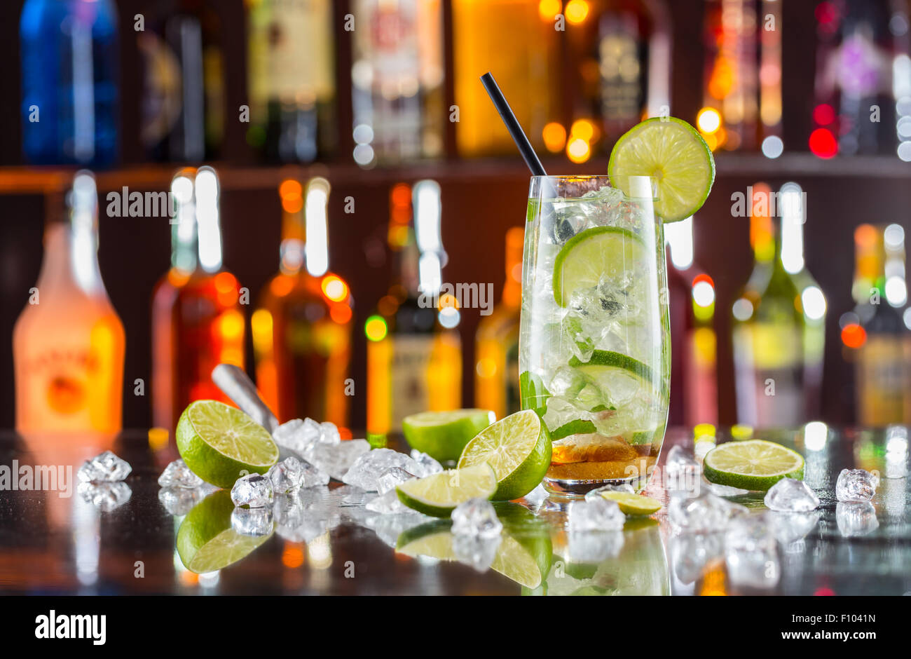 Mojito drink on bar counter - Stock Image
