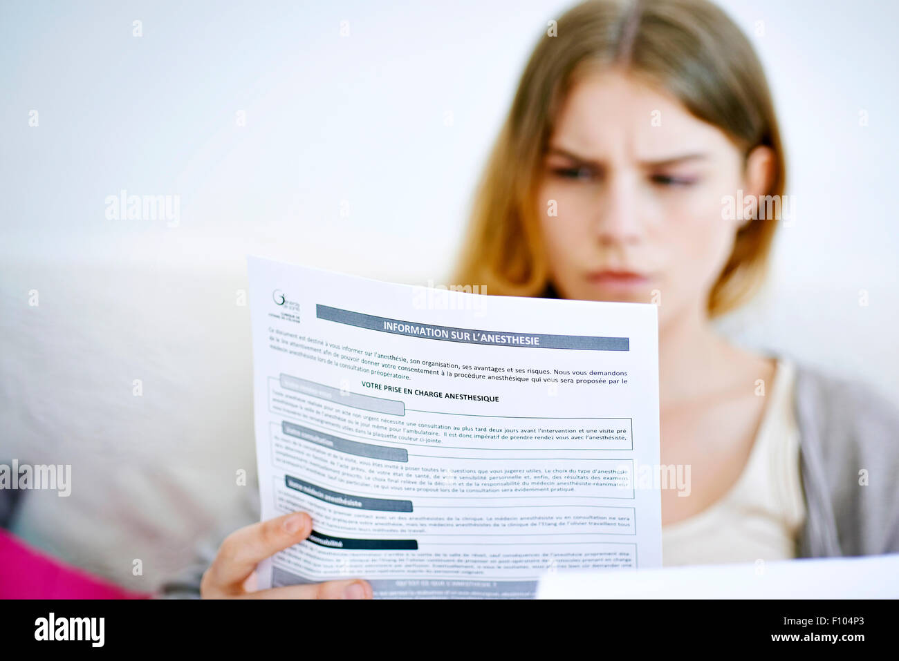 ANESTHESIA WOMAN - Stock Image
