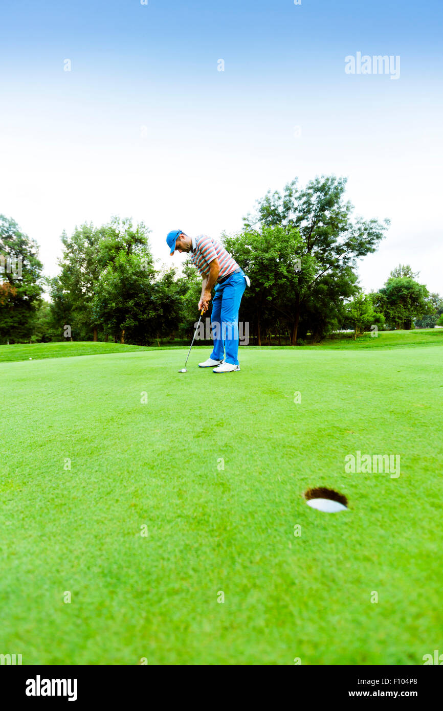 Golfer ready to take the shot on the putting green - Stock Image