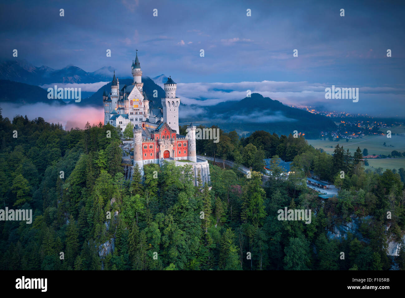 Neuschwanstein Castle, Germany. Revival palace on a rugged hill above the village of Hohenschwangau in southwest - Stock Image