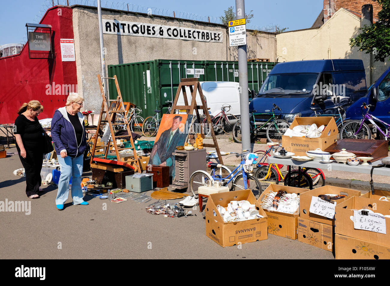 Bric a brac for sale and displayed on the street at The Barras, Glasgow's famous street market, Scotland, UK - Stock Image