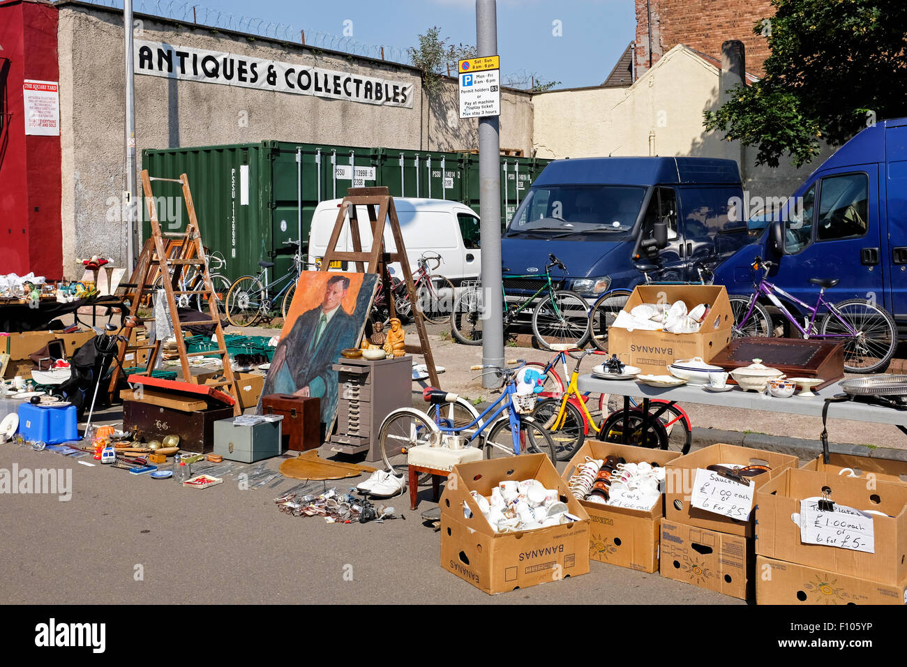 Bric a brac for sale and displayed on the street at The Barras, Glasgow's famous street market, Glasgow, Scotland, - Stock Image