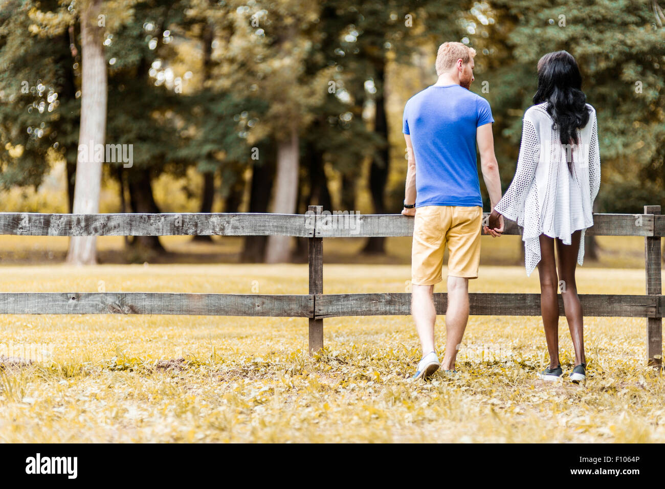 Happy couple in love holding hands in a park in autumn - Stock Image