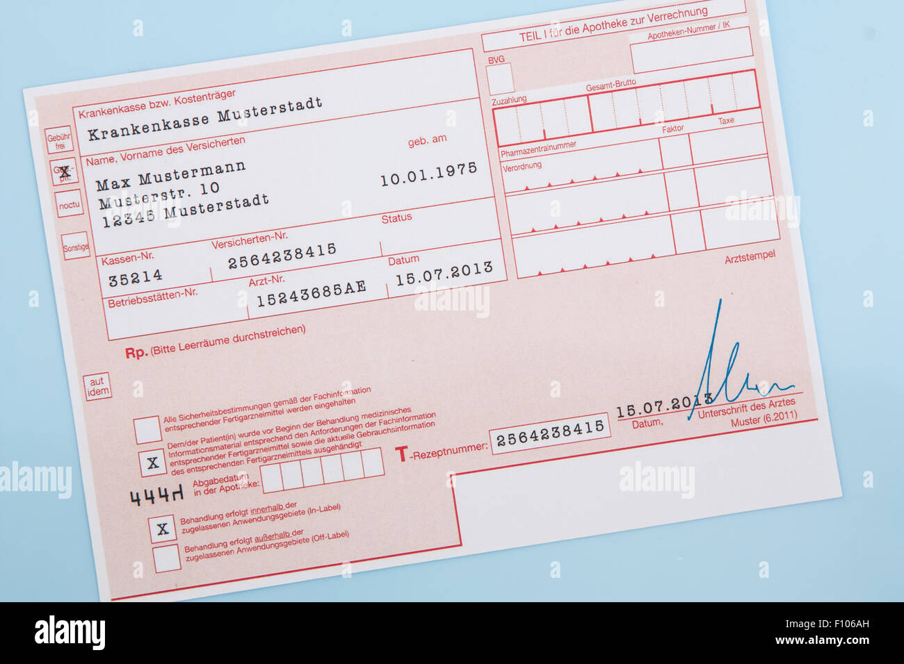 Typical German Medical Prescription Form All Data On Including Names Numbers And Signature Are Fake Made Up
