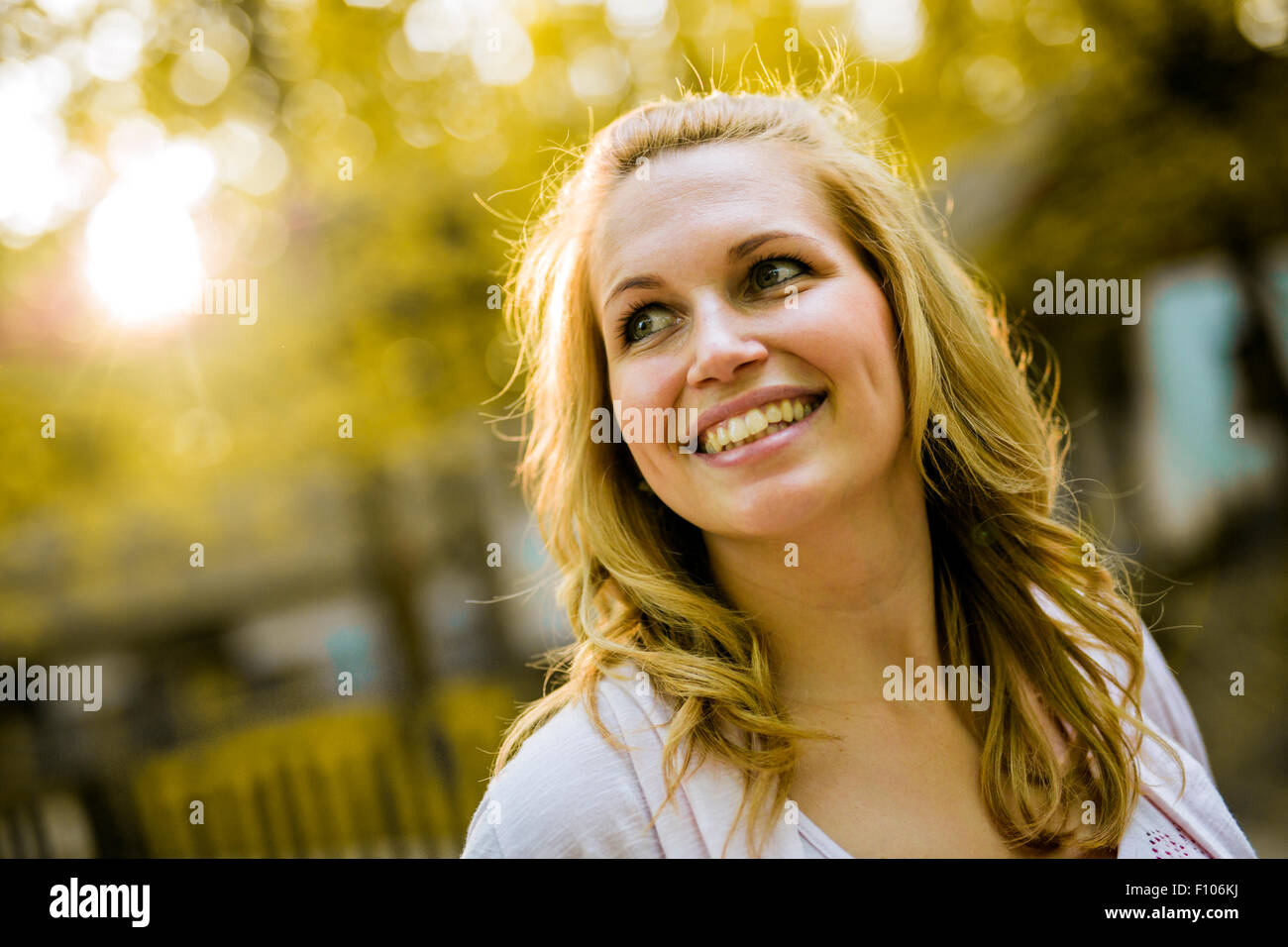 Beautiful young women smiling - Stock Image