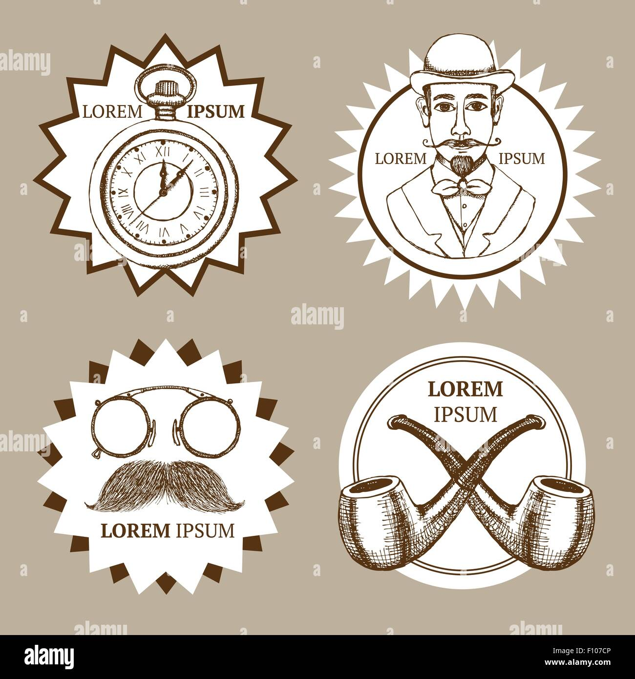 Sketch set of gentleman's logotypes in vintage style, vector - Stock Image