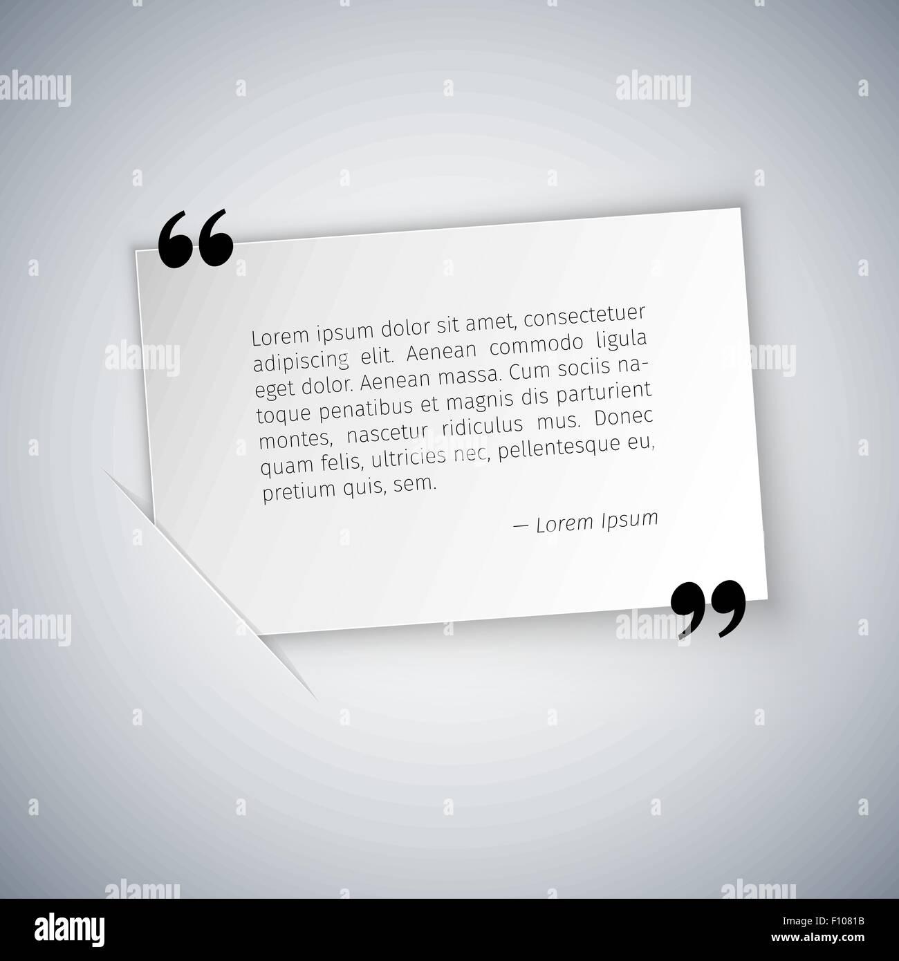 quote on white rectangular sheet template stock vector art