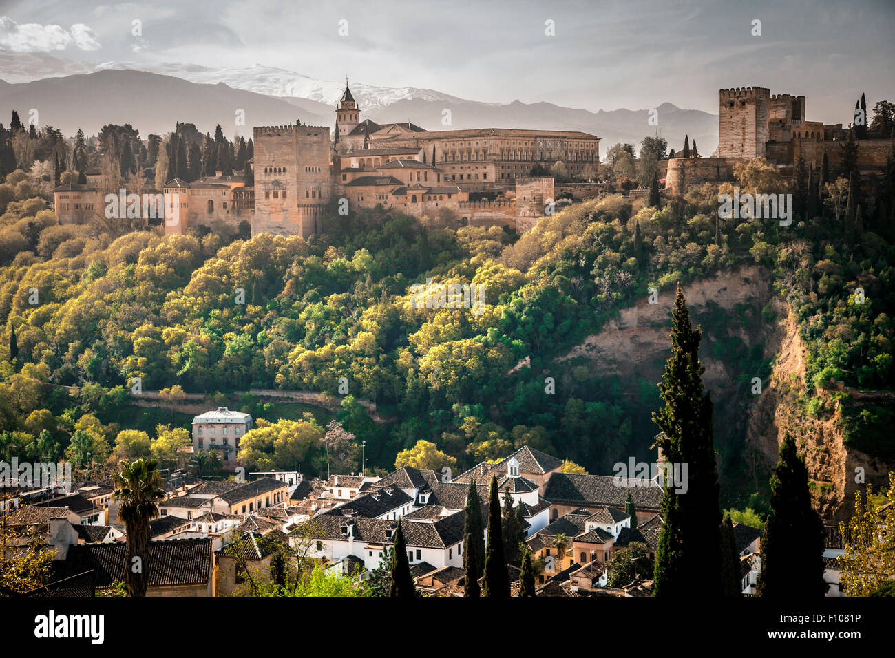 View of The Alhambra from Albaicin quarter, mirador de San Nicolas, Granada, Andalusia, Spain - Stock Image