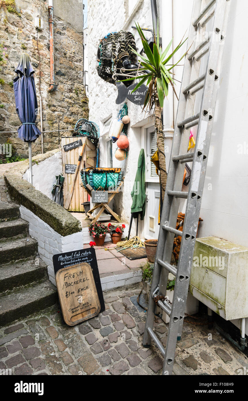 A Cornish Cottage in St Ives, Cornwall, England, UK selling fresh fish. Stock Photo