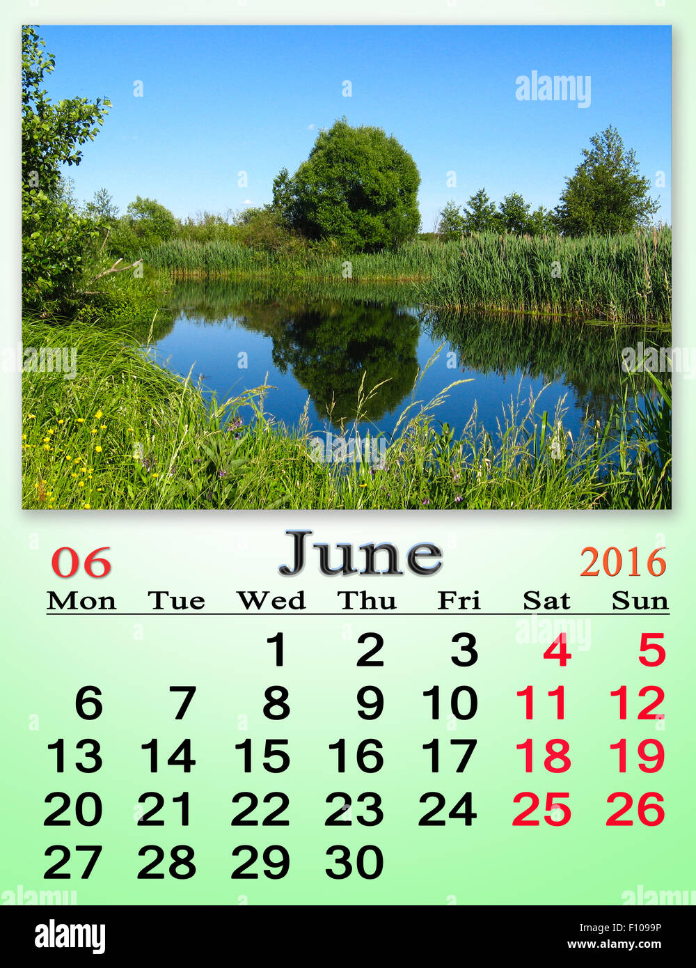 Office Calendar 2016 : Calendar for june on the background of lake calendar for