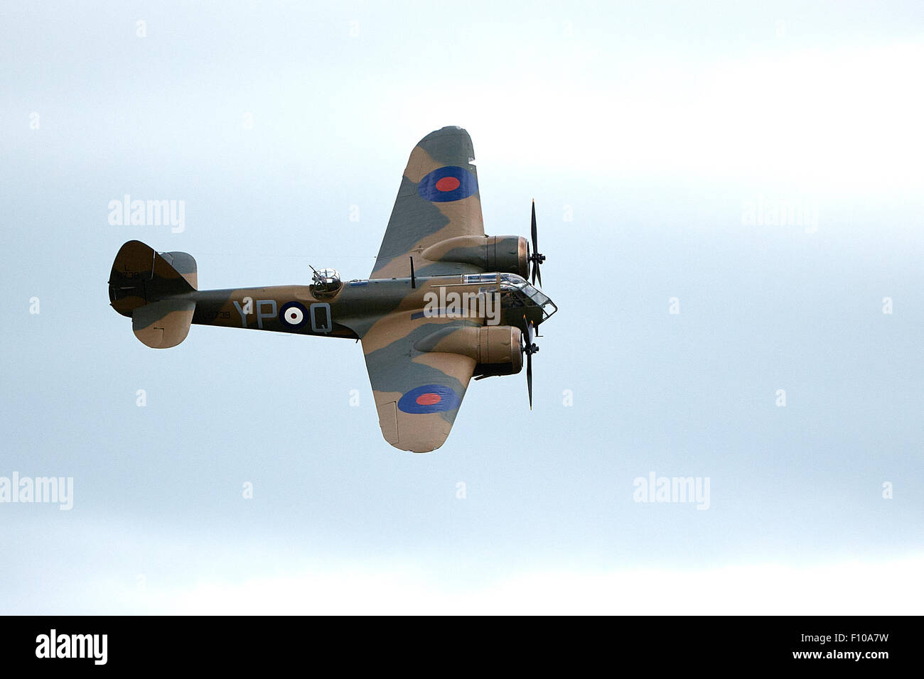 A Bristol Blenheim twin-engined Mk1 bomber flies at the 2015 Bicester Flywheel festival. - Stock Image