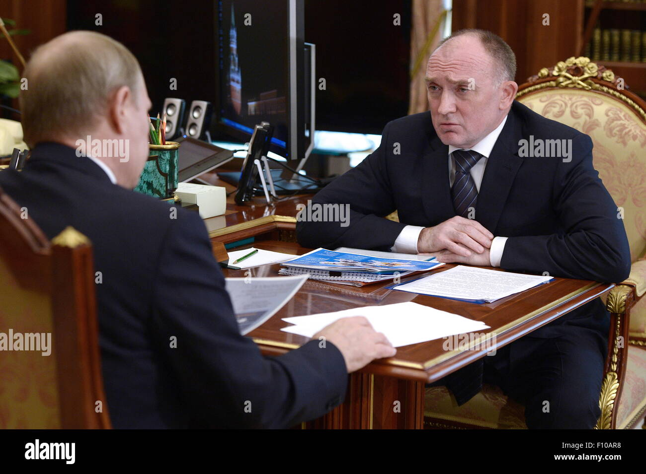 Moscow, Russia. 24th Aug, 2015. Russia's President Vladimir Putin (L) and Chelyabinsk Region Governor Boris - Stock Image