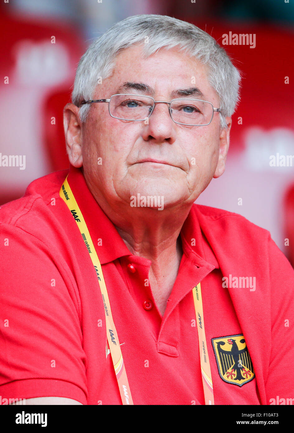 Beijing, China. 24th Aug, 2015. Germany's head coach of the Discus athletes, Werner Goldmann, pictured during - Stock Image