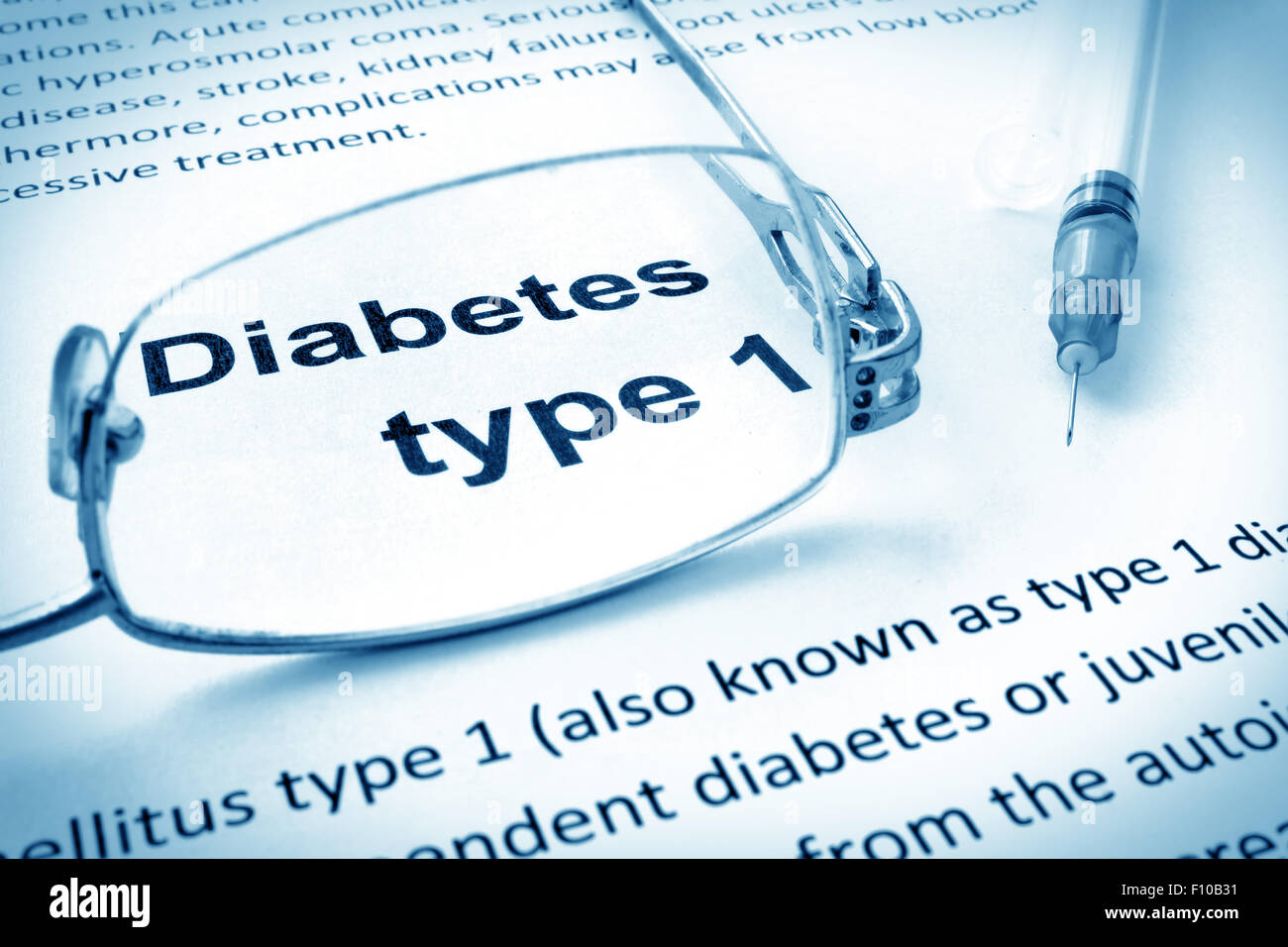 Paper with words diabetes type 1 and glasses. - Stock Image