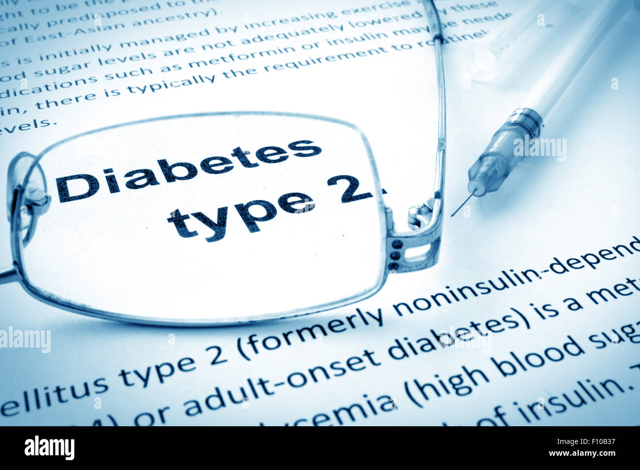 Paper with words diabetes type 2 and glasses Stock Image
