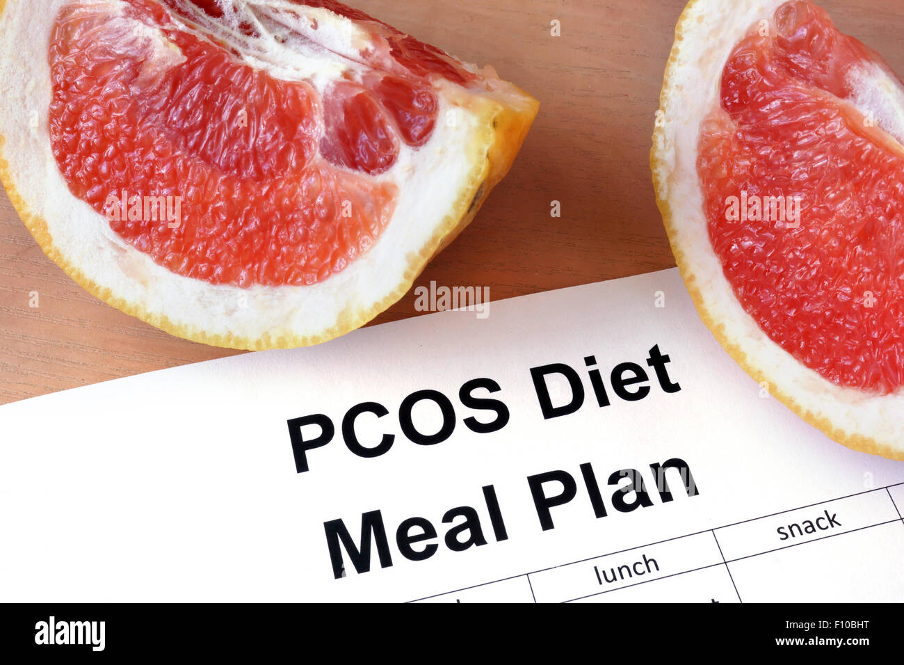 Paper with PCOS diet  Meal plan and grapefruit - Stock Image