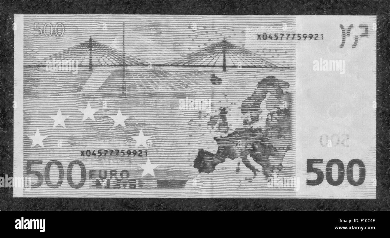 illustrations Banknote,Currency,five hundred Euro, European Union, - Stock Image