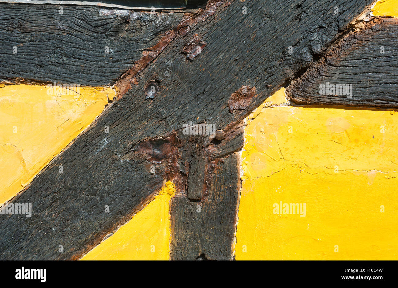 Detail of a timber-framed cottage in Worcestershire, England. - Stock Image
