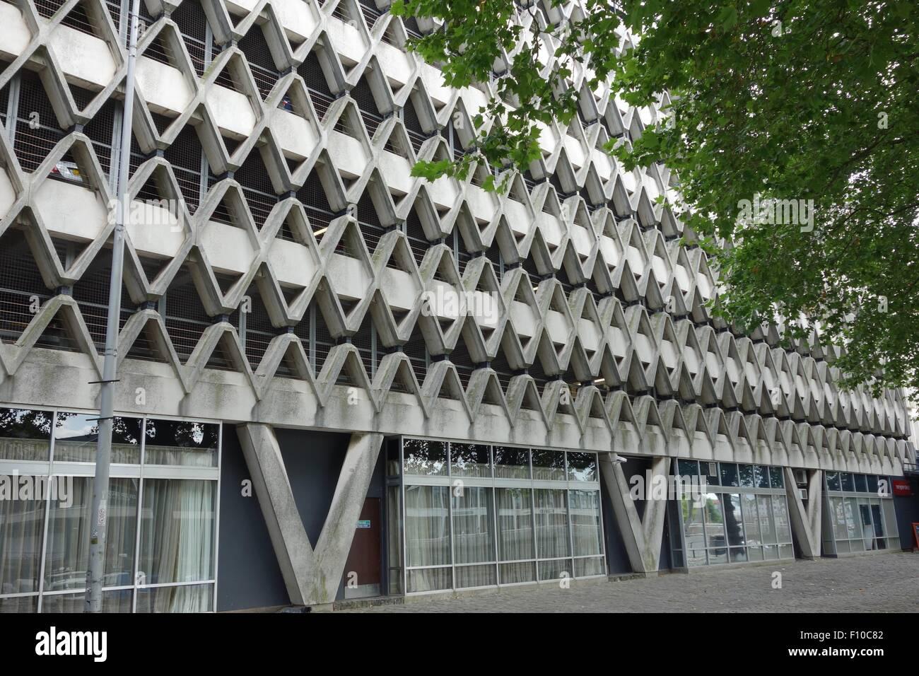 Bristol multistorey car park seen from Narrow Quay side, 1966 honeycomb concrete Brutalist - Stock Image
