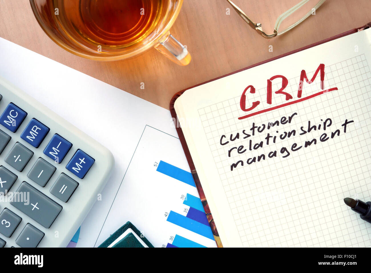 Notepad with word CRM customer relationship management concept and marker. - Stock Image