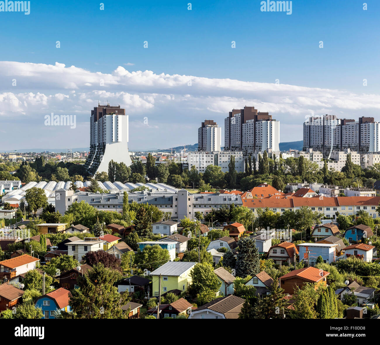 The residential complexes Alt-Erlaa of the city of Vienna - Stock Image
