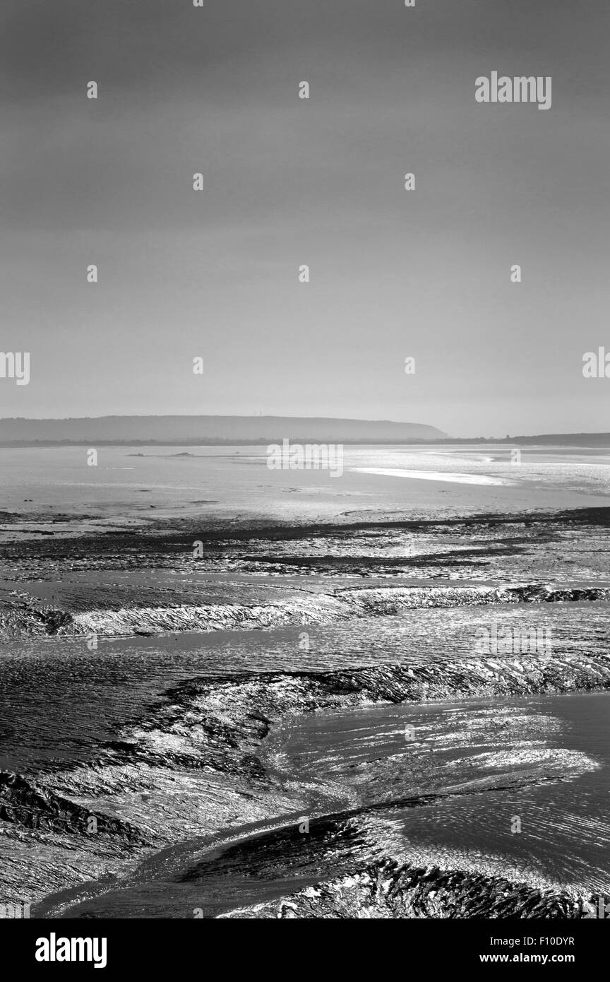 Portrait orientation of patterns formed by movement of receding tides at Clevedon beach Stock Photo