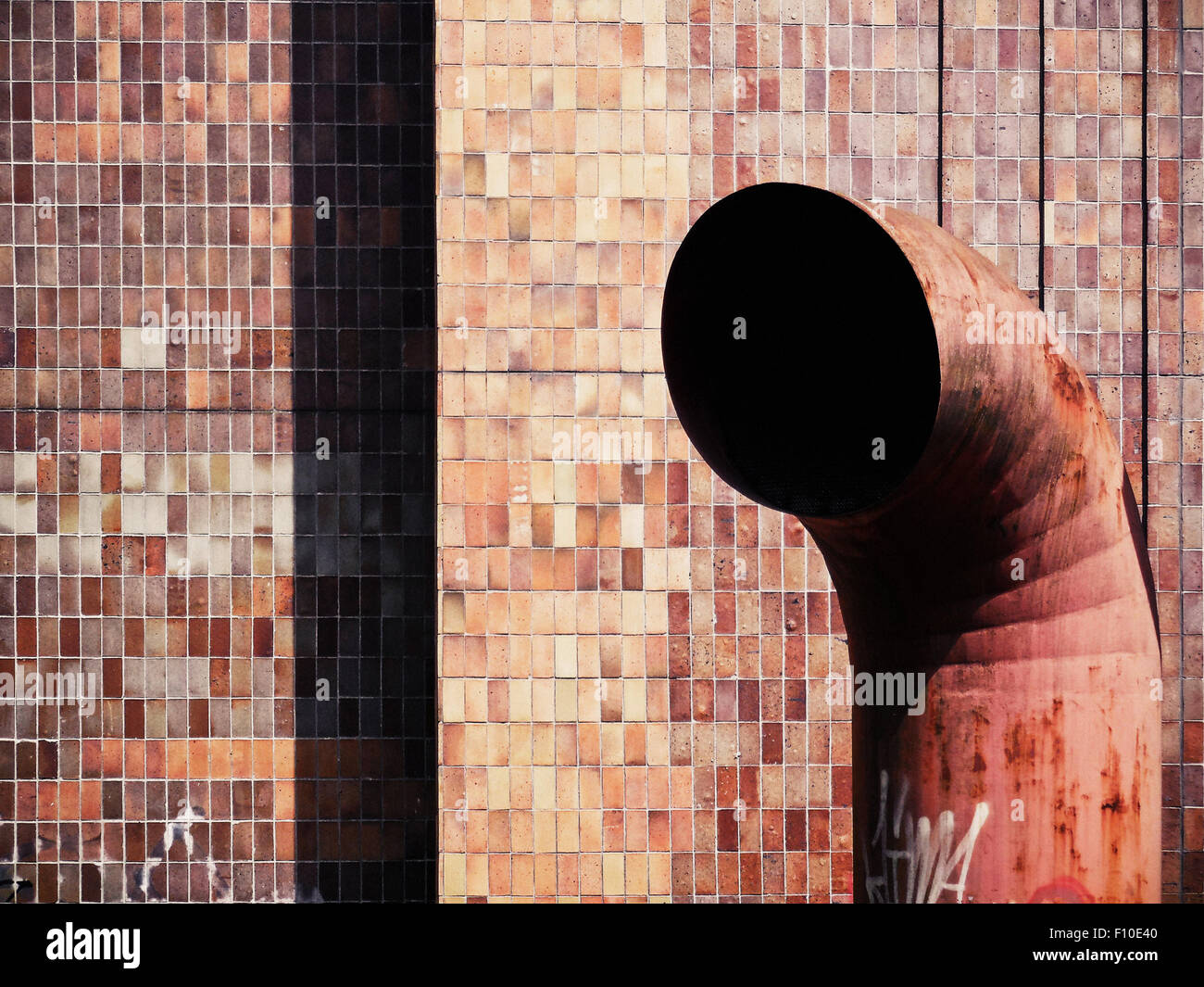 rusty industrial ventilation pipes - Stock Image
