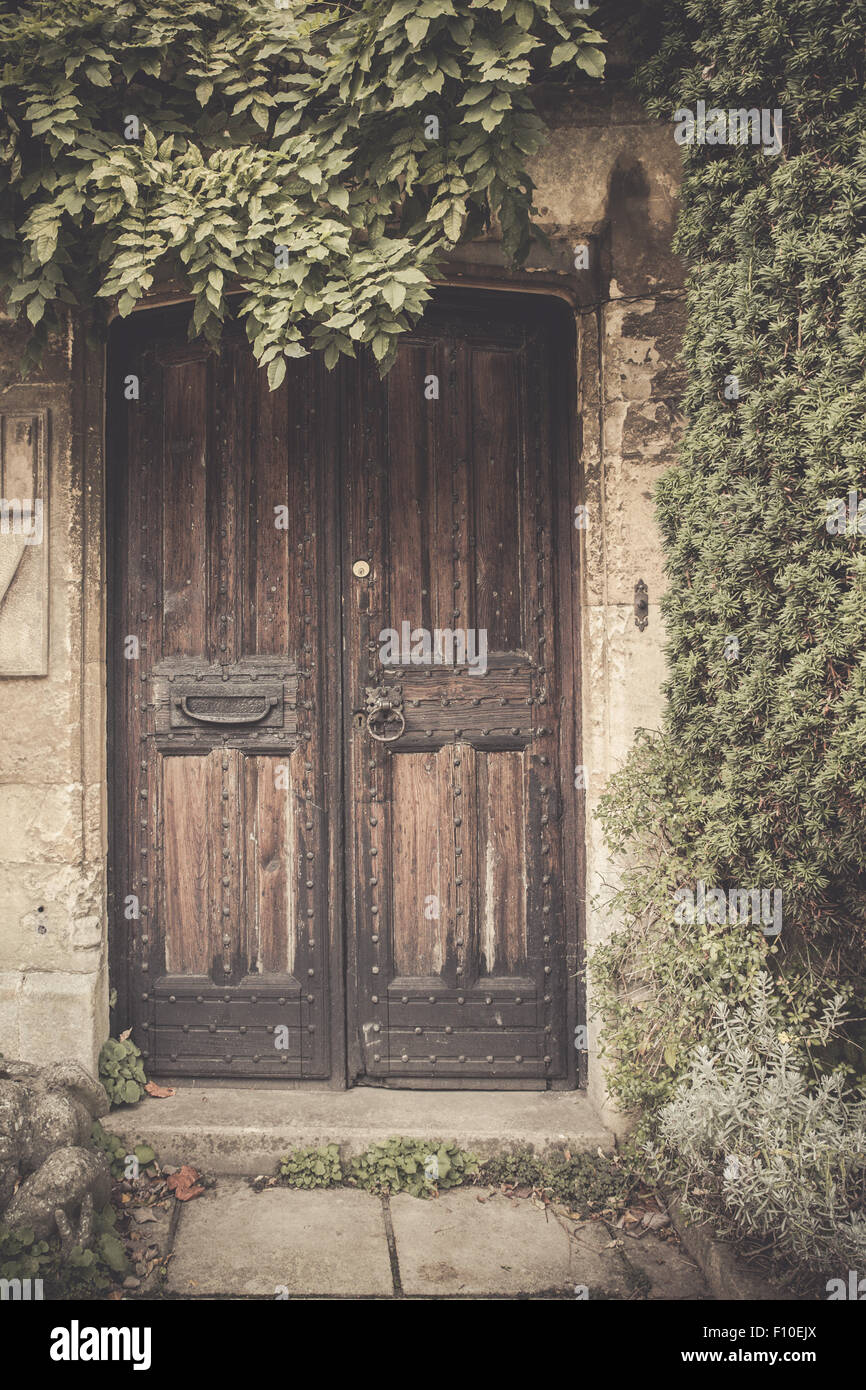 Vintage filter effect image of old wooden door with greenery - Stock Image