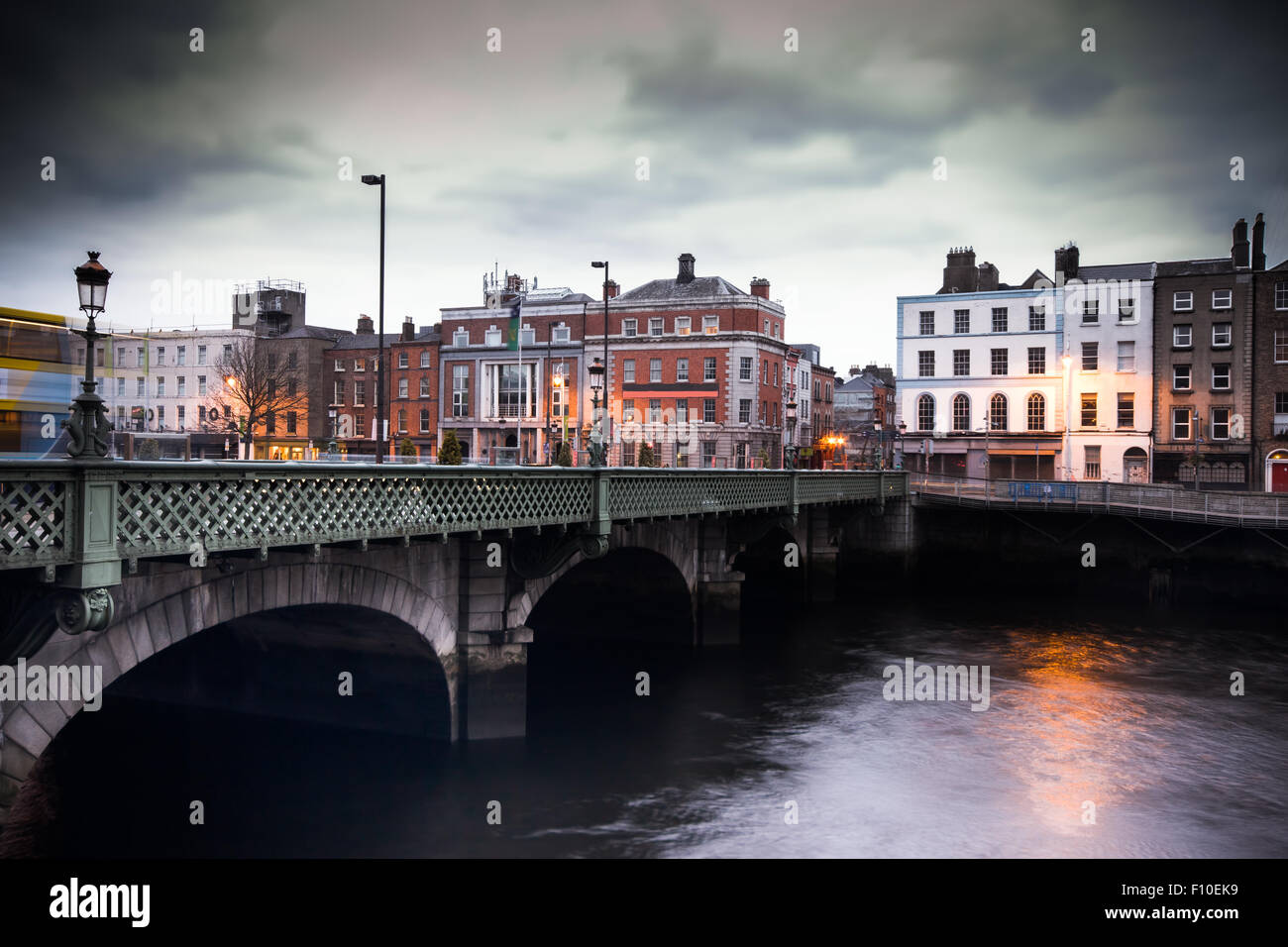 Grattan Bridge over the River Liffey in Dublin Ireland in the evening with vintage fliter effect - Stock Image