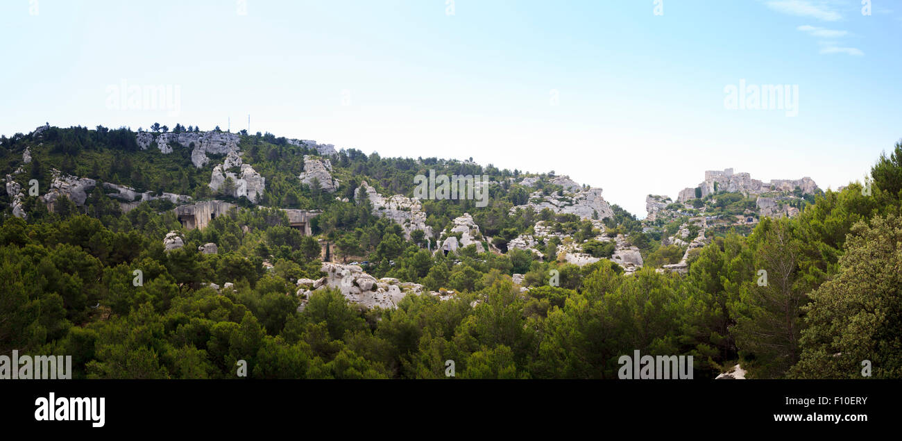 Extreme panorama of Les Baux-de-Provence and the countryside in Provence France - Stock Image
