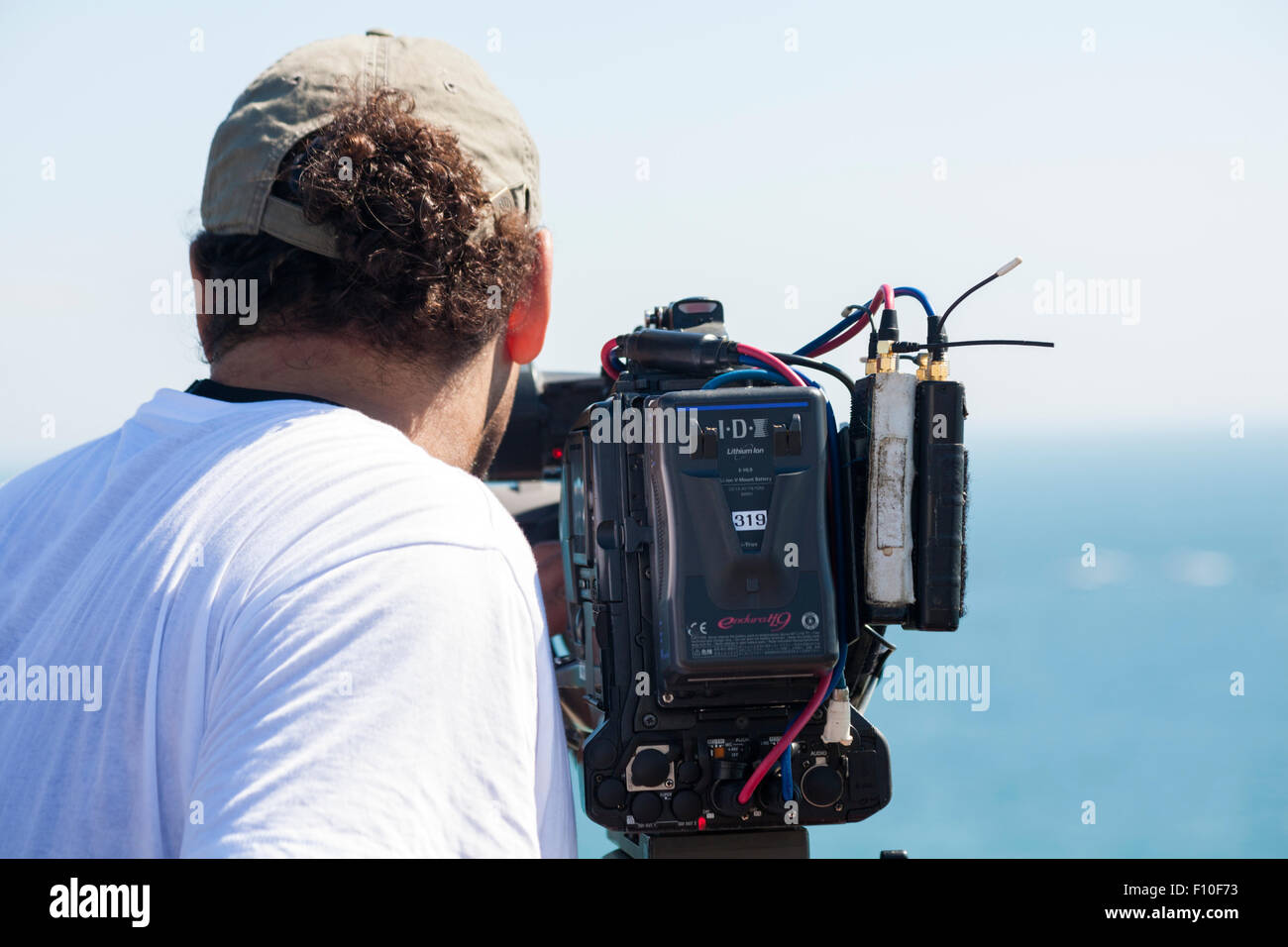 Film cameraman at Bournemouth Air Festival in August - Stock Image
