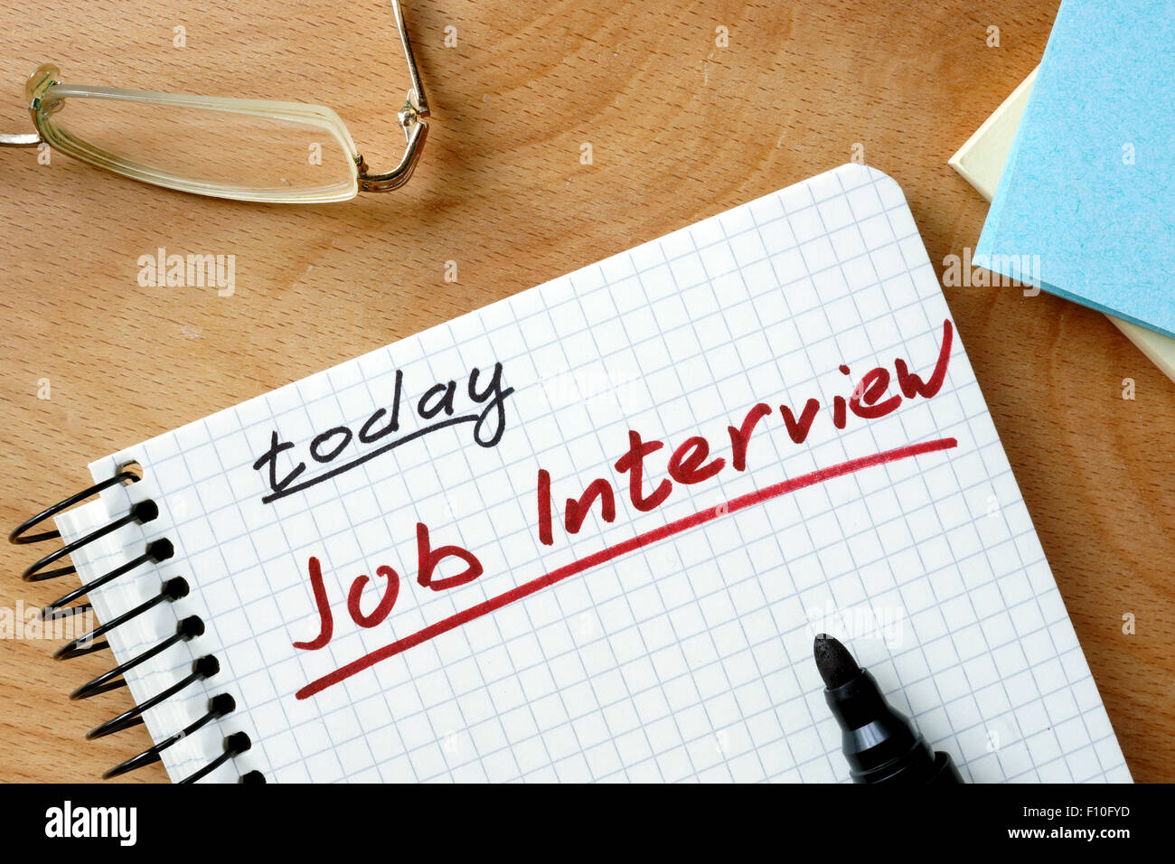 Notepad with job interview today. - Stock Image