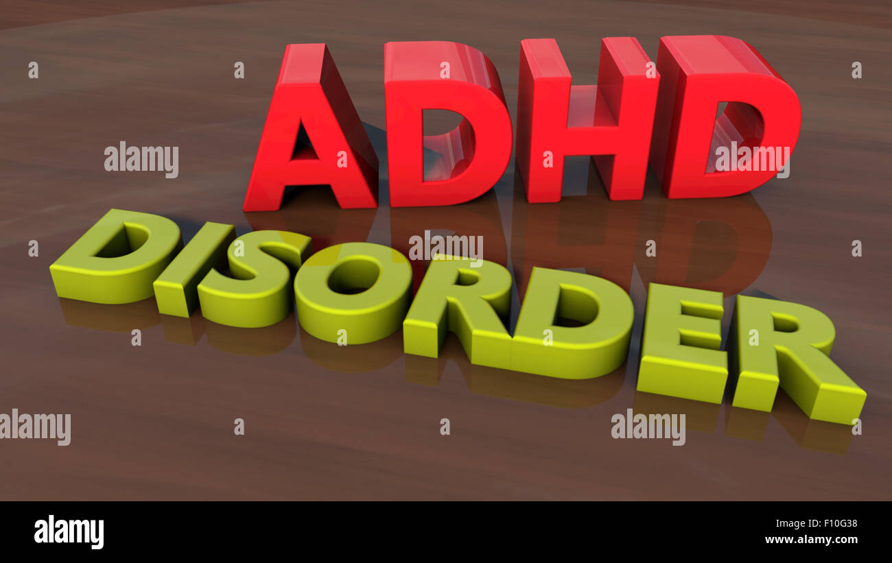 ADHD Disorder 3d text and floor - Stock Image