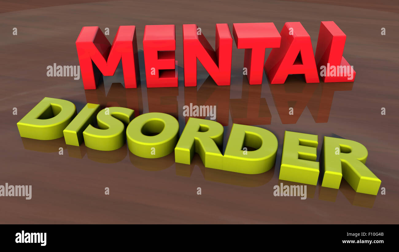 Mental disorder 3d text and floor - Stock Image